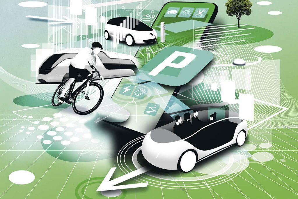 Smart vernetzt: Per App zum gewünschten Transportmittel. Grafik: Mario Wagner/2Agenten